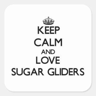 Keep calm and Love Sugar Gliders Square Sticker