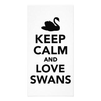 Keep calm and love swans photo card template