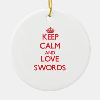 Keep calm and love Swords Christmas Tree Ornaments