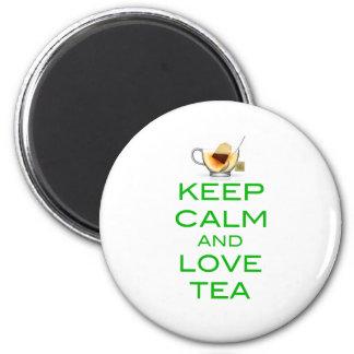 Keep Calm and Love Tea Original Design 6 Cm Round Magnet