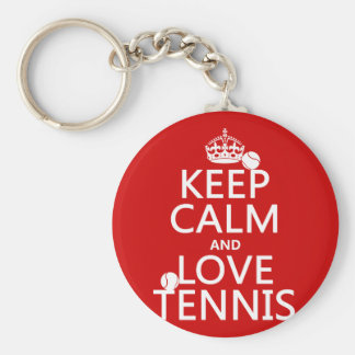 Keep Calm and Love Tennis (customize color) Basic Round Button Key Ring