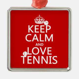 Keep Calm and Love Tennis (customize color) Christmas Ornament