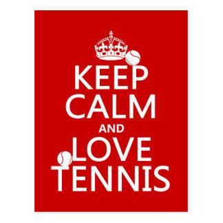 Keep Calm and Love Tennis Postcard