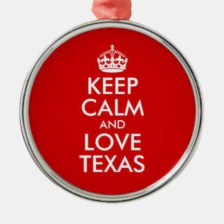 Keep Calm and Love Texas Christmas Ornament