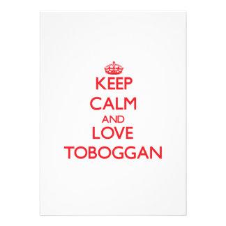 Keep calm and love Toboggan Custom Announcements