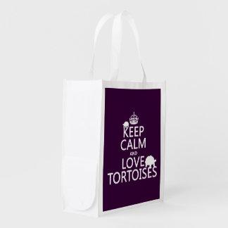 Keep Calm and Love Tortoises (any color) Reusable Grocery Bag