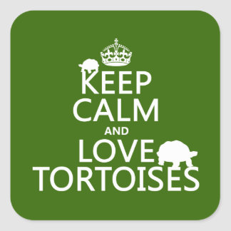 Keep Calm and Love Tortoises (any color) Square Sticker
