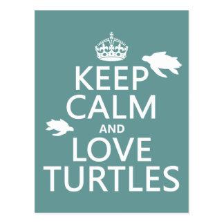 Keep Calm and Love Turtles Postcard