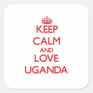 Keep Calm and Love Uganda Square Sticker