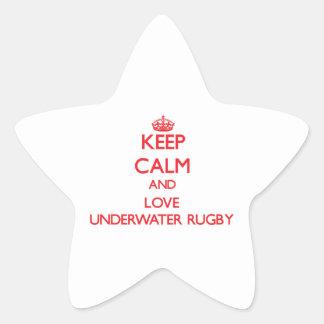 Keep calm and love Underwater Rugby Star Sticker