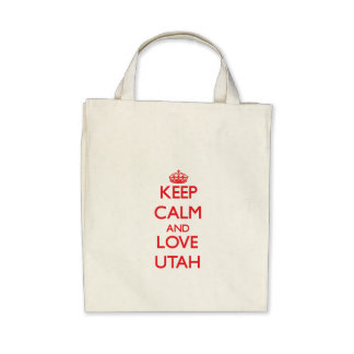 Keep Calm and Love Utah Canvas Bags