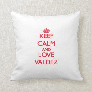 Keep calm and love Valdez Throw Pillow