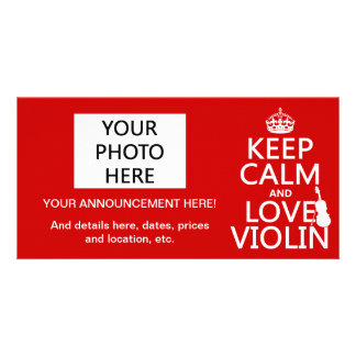 Keep Calm and Love Violin any background color Picture Card
