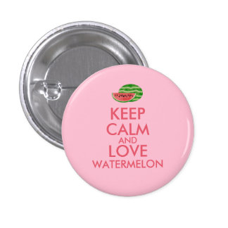 Keep Calm and Love Watermelon Customizable Gift 3 Cm Round Badge