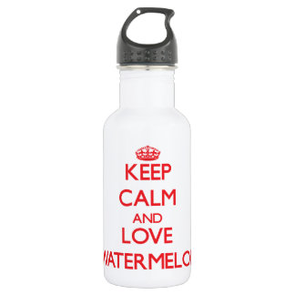 Keep calm and love Watermelon 18oz Water Bottle
