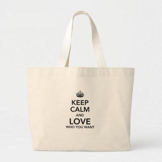 Keep calm and love who you want jumbo tote bag