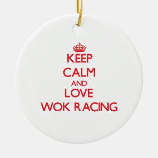 Keep calm and love Wok Racing Christmas Tree Ornament