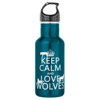 Keep Calm and Love Wolves (any background color) 532 Ml Water Bottle