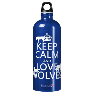 Keep Calm and Love Wolves (any background color) Water Bottle