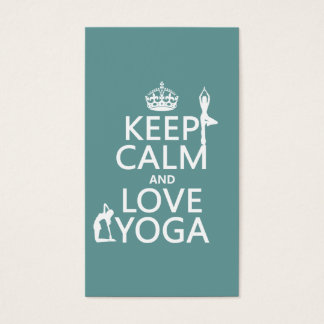 Keep Calm and Love Yoga (customizable colors) Business Card