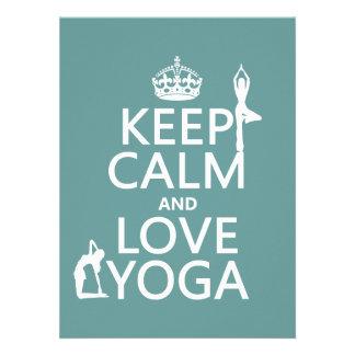 Keep Calm and Love Yoga customizable colors Custom Invite