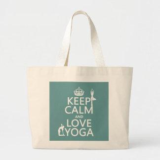 Keep Calm and Love Yoga (customizable colors) Jumbo Tote Bag