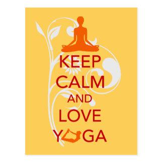 Keep Calm and Love Yoga - unique fun design Postcard