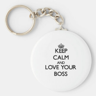 Keep Calm and Love your Boss Basic Round Button Key Ring