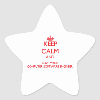 Keep Calm and Love your Computer Software Engineer Star Stickers