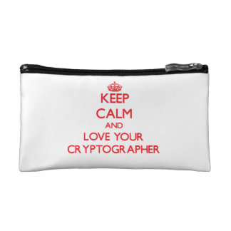Keep Calm and Love your Cryptographer Cosmetic Bags