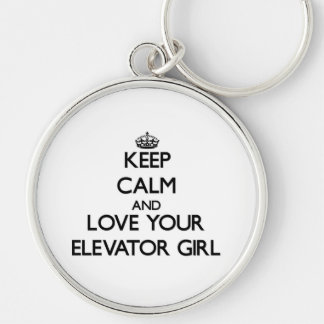 Keep Calm and Love your Elevator Girl Silver-Colored Round Key Ring