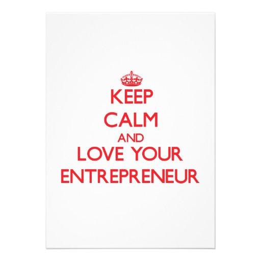 Keep Calm and Love your Entrepreneur Custom Announcement