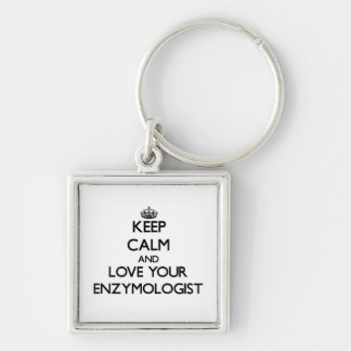 Keep Calm and Love your Enzymologist Silver-Colored Square Key Ring
