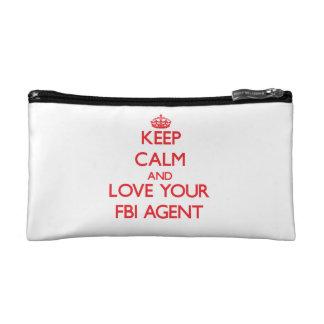 Keep Calm and Love your Fbi Agent Makeup Bags