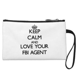 Keep Calm and Love your Fbi Agent Wristlet Purses