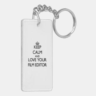 Keep Calm and Love your Film Editor Rectangular Acrylic Key Chain