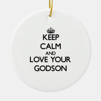 Keep Calm and Love your Godson Christmas Ornament