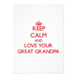 Keep Calm and Love your Great Grandpa Invitation