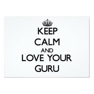 Keep Calm and Love your Guru 13 Cm X 18 Cm Invitation Card