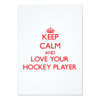 Keep Calm and Love your Hockey Player Personalized Announcements