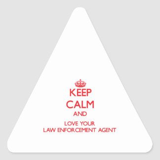 Keep Calm and Love your Law Enforcement Agent Triangle Stickers