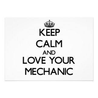 Keep Calm and Love your Mechanic Custom Announcements
