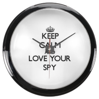 Keep Calm and Love your Spy Fish Tank Clock