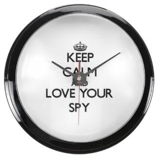 Keep Calm and Love your Spy Fish Tank Clock