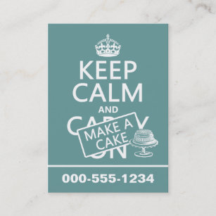 Cake making business cards business card printing zazzle uk keep calm and make a cake business card reheart Image collections
