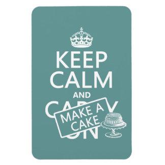 Keep Calm and Make A Cake (customize colors) Rectangular Photo Magnet
