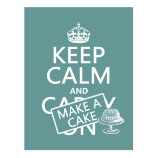 Keep Calm and Make a Cake Postcard