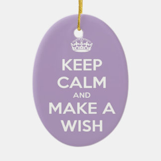 Keep Calm and Make A Wish Lavender Ceramic Oval Decoration