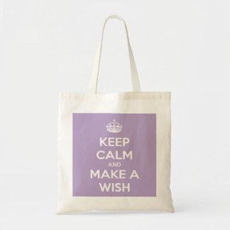 Keep Calm and Make a Wish Lavender Reusable Tote Budget Tote Bag