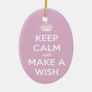 Keep Calm and Make A Wish Pink Ceramic Oval Decoration